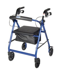 Rollator 4-Wheel with Basket & Padded Seat  Blue -Medline