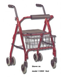 Rollator 4 Wheel Aluminum With Push Brake - Red (PBRD)