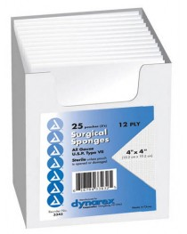 Gauze Sponges Sterile- 2's 4 X 4 -12ply (25-2's per tray)