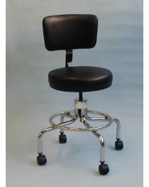 Classic Doctors Stool W/ Back W/ Foot Ring & Casters