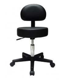 Pneumatic Doctors Stool Black W/Back Rest W/O Foot Ring