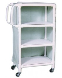 PVC Supply Cart w/ Ergonomic Handles- wt cap: 75lbs./Shelf