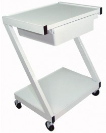 Z-Cart Steel 2-Shelf w/Drawer White
