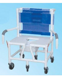 Shower/Commode Chair Bariatric w/ Seat & Dual Drop-Arms PVC