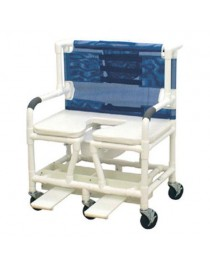 Shower Commode Chair Bariatric PVC w/Dlx Elong Open Soft Seat